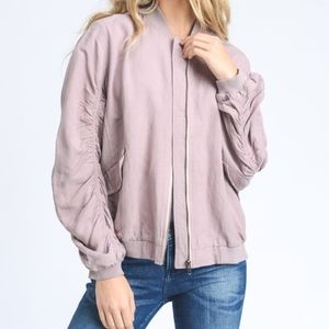 "Jackets & Blazers - PURE ""Mauve"" Ruched Linen Bomber Jacket"